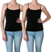 Hollywood Star Fashion Cami Camisole Built in Shelf BRA Adjustable Spaghetti Strap Tank Top 2 Pk