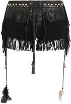 Roberto Cavalli Fringed Embellished Suede Shorts - Black