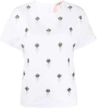 No.21 crystal-embellished T-shirt