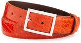 "W.KLEINBERG Glazed Alligator Belt with ""Simple Rec"" Buckle, Orange (Made to Order)"