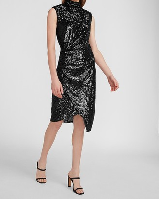 Express Sequin Asymmetrical Mock Neck Dress