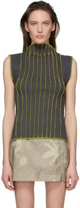 Helenamanzano Green 3D Stripe Tank Top