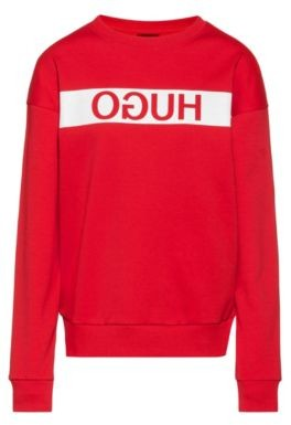 HUGO Relaxed-fit sweatshirt with reverse-logo print