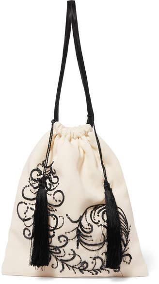 ATTICO Embroidered Satin Pouch - White