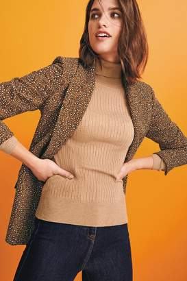 Next Womens Ginger Animal Print Relaxed Soft Crepe Blazer - Brown