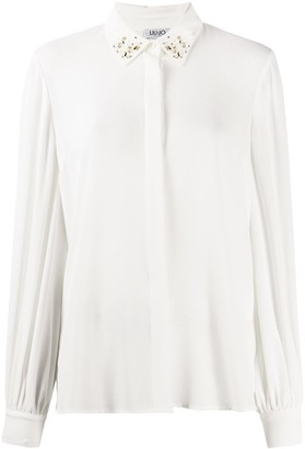 Liu Jo Embellished-Collar Long Sleeved Shirt