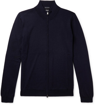 HUGO BOSS Wool Zip-Up Sweater