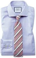 Slim Fit Spread Collar Non-Iron Cotton Stretch Oxford Blue Dress Shirt Single Cuff Size 15.5/33 by Charles Tyrwhitt