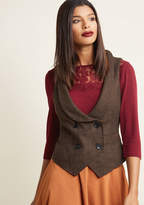 ModCloth Double-Breasted Herringbone Vest in XXS