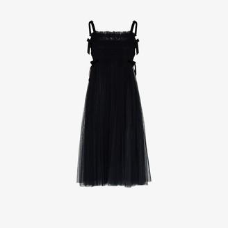 Molly Goddard Marta Velvet Strap Hand Smocked Tulle Dress