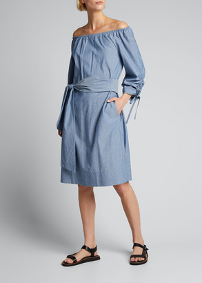 Lafayette 148 New York Keene Off-the-Shoulder Chambray Dress
