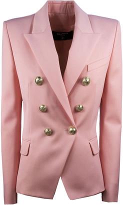 Balmain Pink Double-breasted Wool Blazer