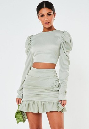 Missguided Mint Co Ord Satin Ruched Frill Mini Skirt
