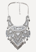 Bebe Crystal Plate Bib Necklace