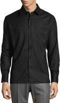 Luciano Barbera Solid Wool Sport Shirt, Black