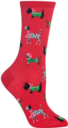 Hot Sox Christmas Dogs Crew Socks