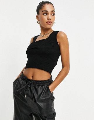 4th & Reckless knitted wrap detail sleeveless jumper in black