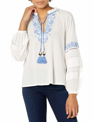 BCBGMAXAZRIA Women's Embroidered Long Sleeve Top