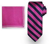 Men's Steve Harvey Satin Striped Tie & Dot Pocket Square