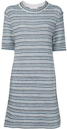 Chloé Striped Woven Short-Sleeve Dress