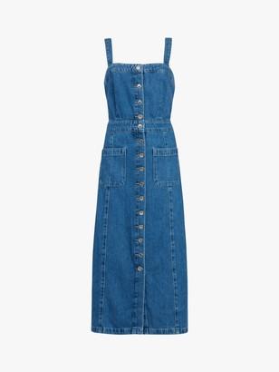 AllSaints Elsie Denim Button Front Dress, Blue