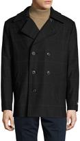 Hart Schaffner Marx Men's Wool Plaid Notch Lapel Car Coat