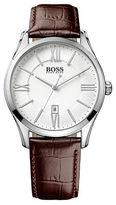 HUGO BOSS Ambassador Stainless Steel Brown Leather Strap Watch, 1513021