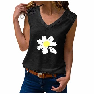 Uulike  Women Coats & Sweatshirts UULIKE Women's Sleeveless Tank Top Sexy V-Neck Daisy Printed Strapless Tops T-Shirt Casual Comfortable Breathable Shirt Loose Fit Blouse Size S-5XL Gray Blue