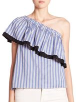 Milly Cotton & Silk One-Shoulder Striped Top