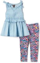 U.S. Polo Assn. Light Wash Tank & Ditsy Flower Leggings - Infant, Toddler & Girls