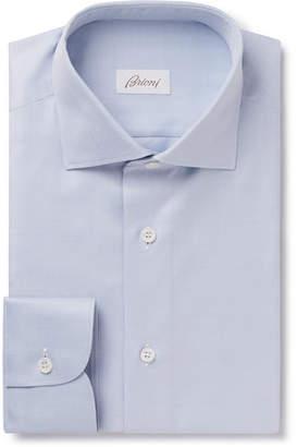 Brioni Light-Blue Slim-Fit Cutaway-Collar Herringbone Cotton Shirt