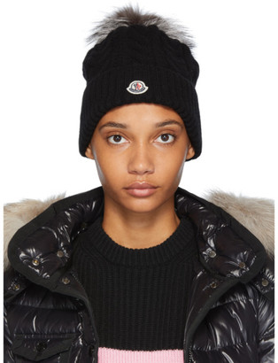 Moncler Black Cable Knit Fur Pom Pom Beanie