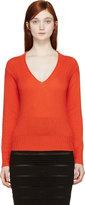Burberry Orange Cashmere V-neck Sweater