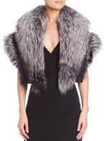 Zandra Rhodes Fox Fur Beaded-Detail Shrug
