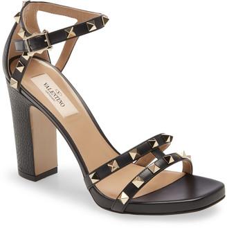 Valentino Rockstud Strappy Block Heel Sandal