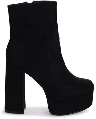 Linzi AXELLE - Black Suede Extreme Chunky Platform Block Heeled Ankle Boots