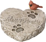 """Precious Moments 171460 Always In Our Hearts Decorative Resin Memorial Garden Stone with Cardinal Accent Yard Decor, Gray/Red, 8"""" Long by 7-in Wide"""