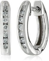 Amazon Collection 14k Gold Channel-Set Diamond Hoop Earrings (1/6 cttw, H-I Color, I1-I2 Clarity)