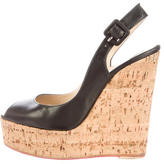 Christian Louboutin Leather Slingback Wedges