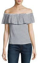 Splendid Venice Striped Off-the-Shoulder Top, White