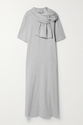MM6 MAISON MARGIELA Bow-embellished Cotton-jersey Midi Dress - Gray