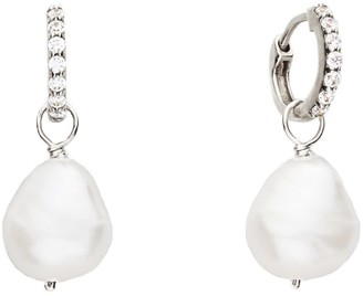 Lily & Roo Small Sterling Silver Huggie Pearl Drop Earrings