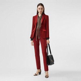Burberry Silk Satin Side Stripe Wool Tailored Trousers