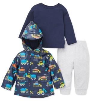 Little Me Baby Boys 3-Pc. Construction-Print Jacket, T-Shirt & Pants Set