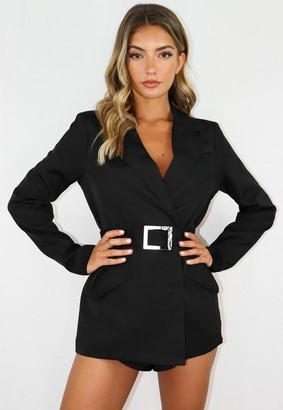 Missguided Black Co Ord Metal Belted Blazer