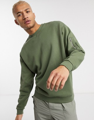 Asos Design DESIGN oversized sweatshirt in khaki with MA1 pocket-Green