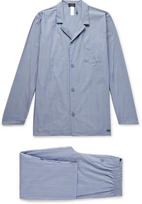 Hanro Striped Mercerised Cotton-Chambray Pyjama Set