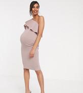 Asos DESIGN Maternity one shoulder ruffle detail midi dress