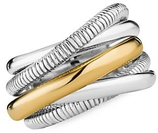 Judith Ripka Eternity 18K Yellow Gold & Sterling Silver 5-Band Highway Ring