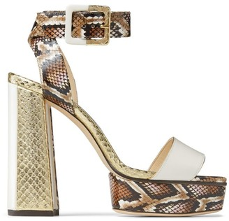 Jimmy Choo JAX 125 Snakeskin Platform Sandals